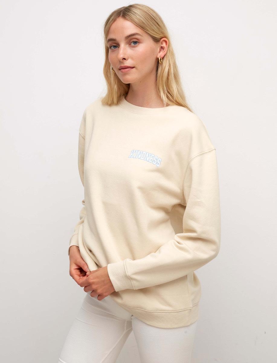 Cream Kindness Embroidered Longline Sweater