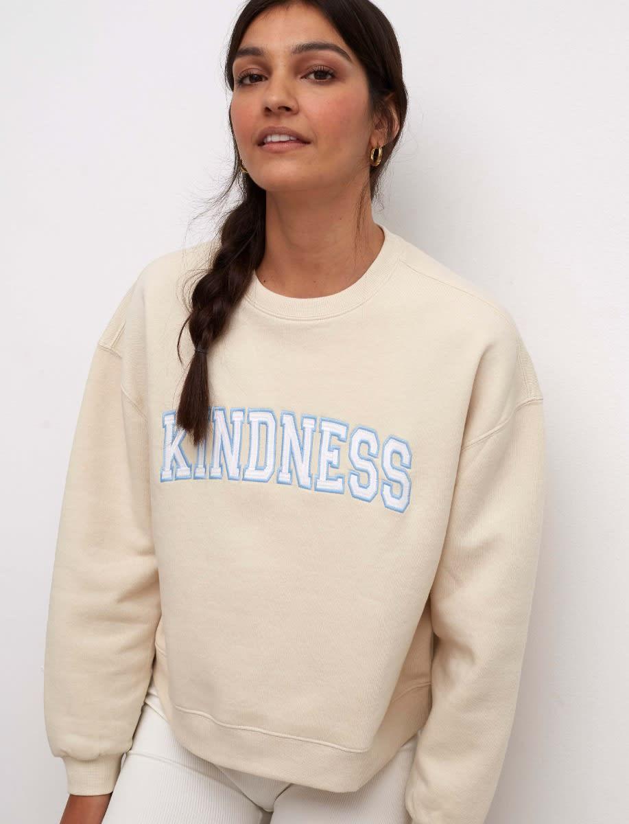 Cream Kindness Embroidered Balloon Sleeve Sweater
