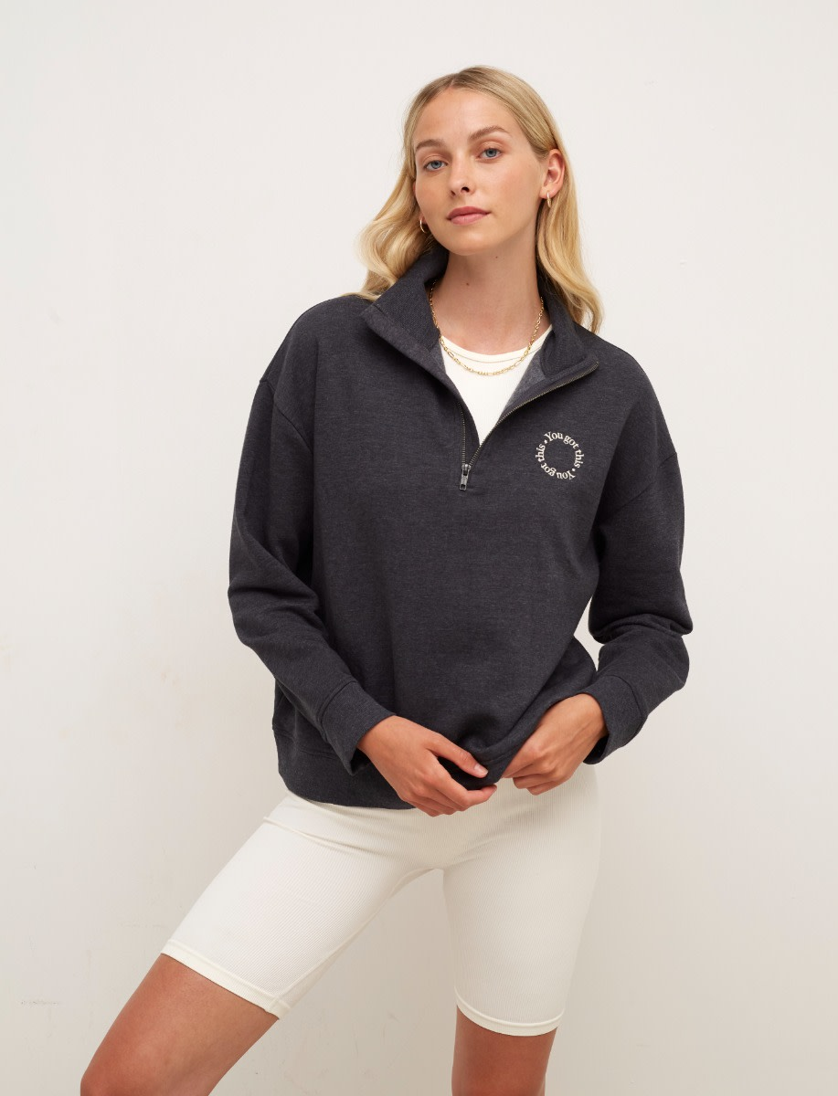 Charcoal You Got This Embroidered Quarter Zip Sweater