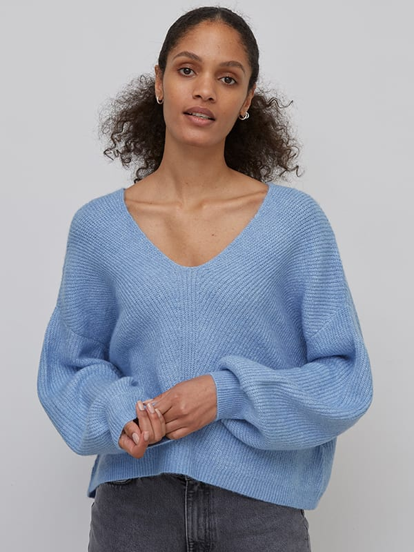 Blue Cropped V Neck Fisherman Sweater