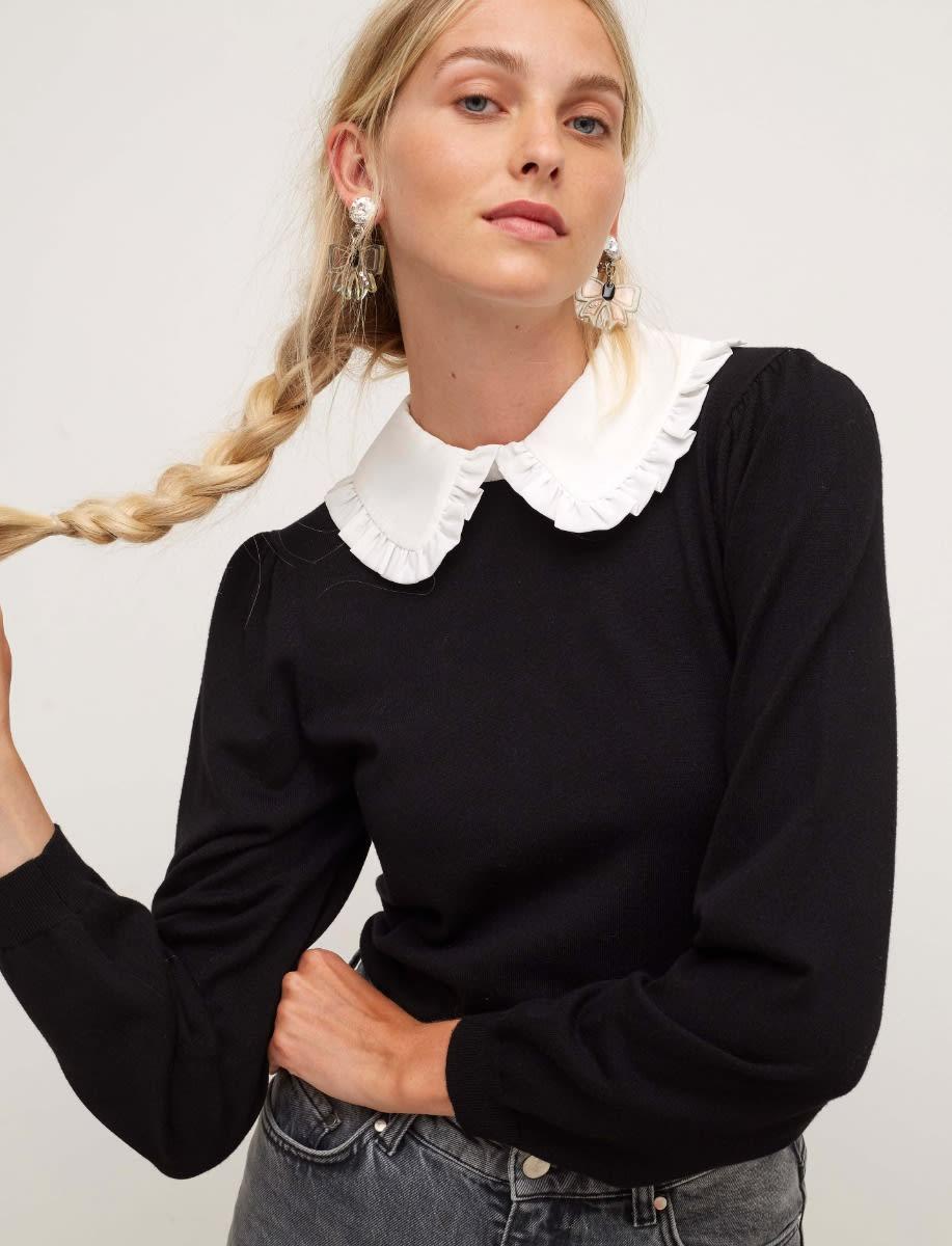 Black Poplin Collar Long Sleeve Jumper