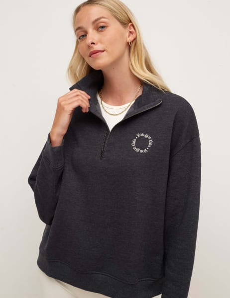 Embroidered Quarter Zip Sweater