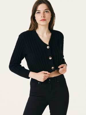 Black Sigrid Crop Cardigan