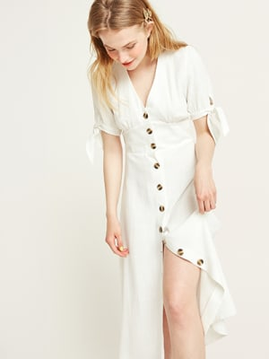 White Alexis Linen Blend Midi Dress