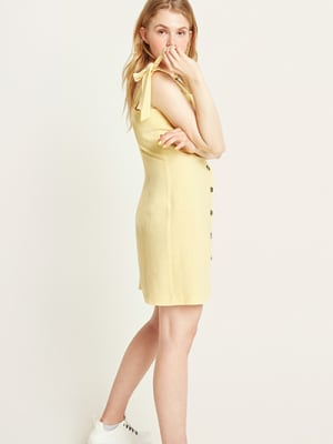 Yellow Lily Linen Blend Mini Dress