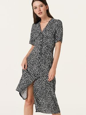 Black and White Animal Alexa Midi Dress