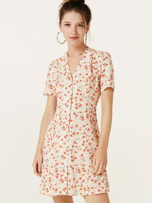 Cream and Red Ditsy Leana Mini Dress