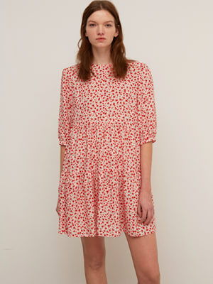 Lenzing EcoVero Pink and Red Ditsy Coryn Smock Mini Dress