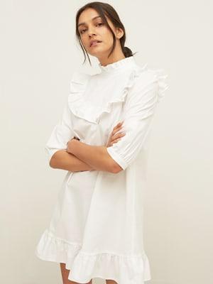 White Poplin Molly Frill Mini Dress