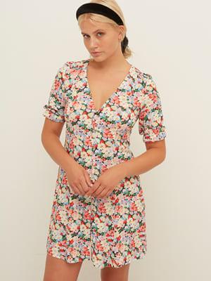 LENZING TM ECOVERO TM Pink and Cream Floral Giana Puff Sleeve Mini Dress