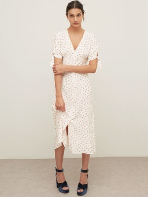 LENZING™ ECOVERO™ Cream and Red Spot Alexis Tie Sleeve Midi Dress