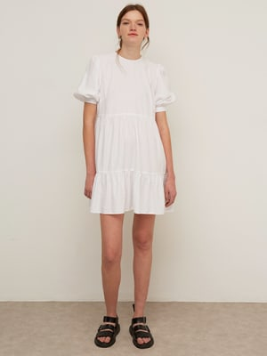 White Waffle Rochelle Smock Mini Dress