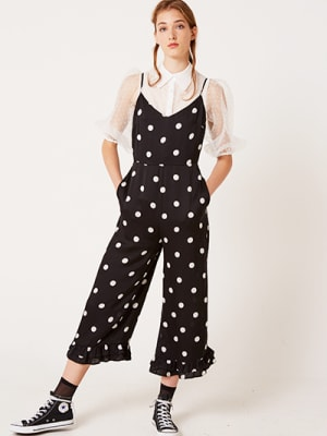 Black and White Spot Scarlet Frill Hem Jumpsuit