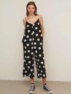 Lenzing EcoVero Black and White Spot Jodie Tie Side Jumpsuit