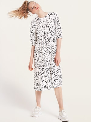 White and Black Spot Rachel Babydoll Midi Dress