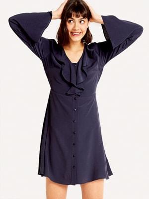 Navy Frilly Button Front Flippy Dress