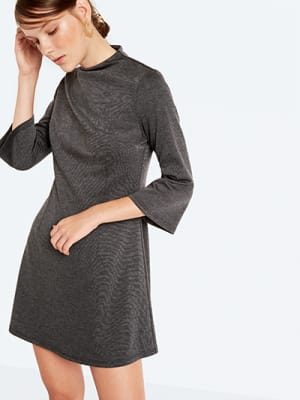 Grey Bell Sleeve Jersey Dress