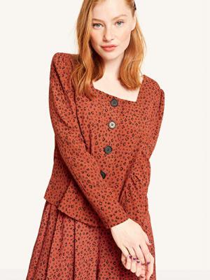 Brown Zeena Leopard Square Neck Button Front Top