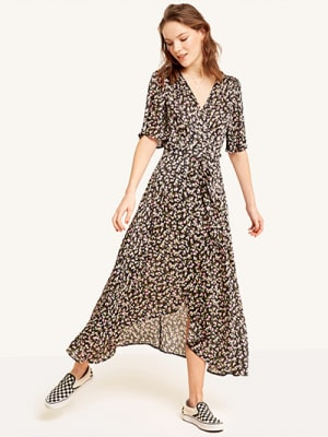 Black Print Willow Ditsy Wrap Dress