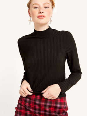 Black Rib Funnel Neck