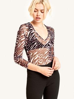 Pink Print Zebra Mesh V Neck Body