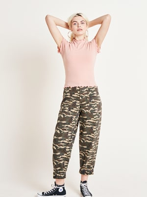 Pink Short Sleeve Rib T Shirt