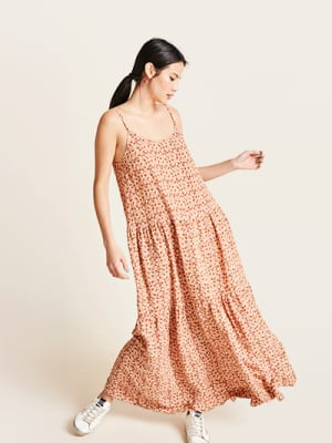 Pink and Tan Floral Livvy Maxi Dress