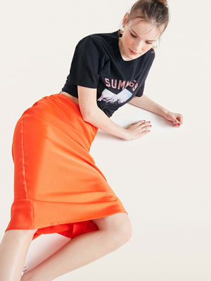 Orange Katy Satin Bias Skirt