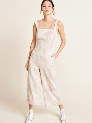 Pink and White Palm Chloe Linen Blend Jumpsuit