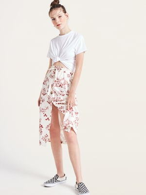 Red and White Scenic Kiera Linen Blend Midi Skirt