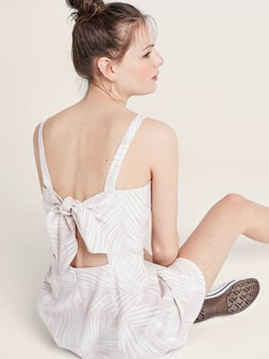 Pink and White Palm Millie Linen Blend Mini Dress