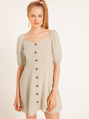 Natural Rhona Linen Blend Mini Dress