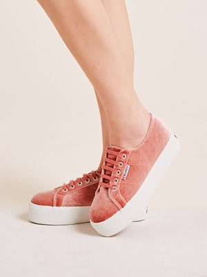 Pink Velvet Superga Trainer