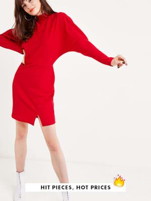Red Funnel Neck Split Front Mini Dress