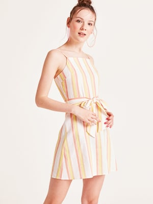Pink and Yellow Stripe Tiger Lily Linen Blend Mini Dress