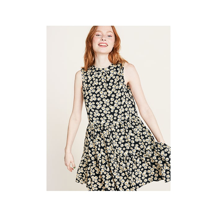 2412e77faa Black Daisy Print Selena Smock Dress