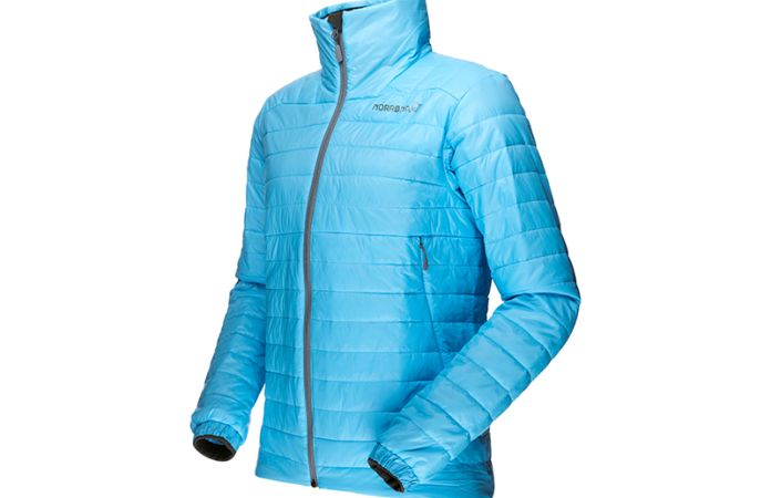 Norrona falketind Primaloft jacket for women in ice blue