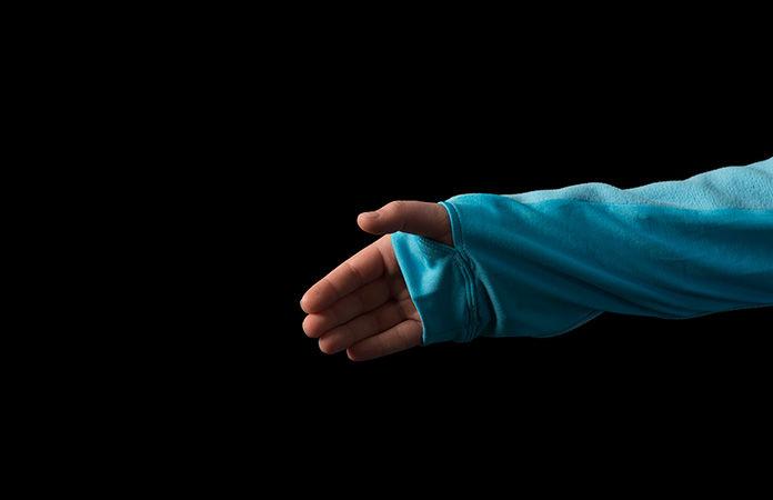 fleece jacket detail hand gaiter