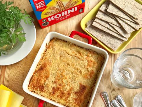 Korni® flatbrød og fiskegrateng - god hverdagsmiddag og en fin måte å bruke rester av fisk og grønnsaker.