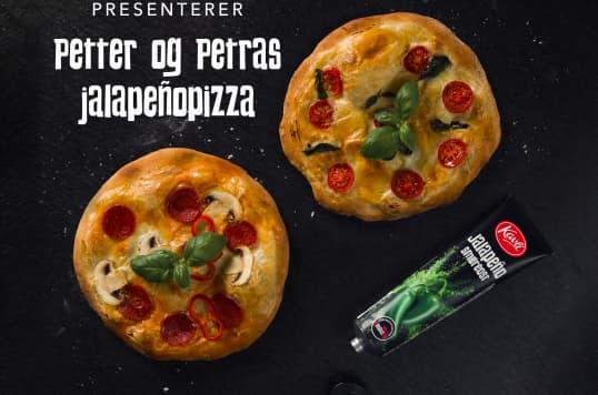 Hjemmelaget pizza med Kavli Smaksrik Jalapeño smøreost
