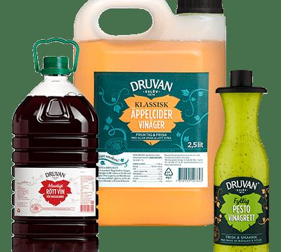 Samlingsbild Druvan matlagningsvin, vinäger, olja ovh vinägrett
