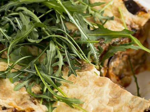 Lasagne med vitlök, aubergine och tomat