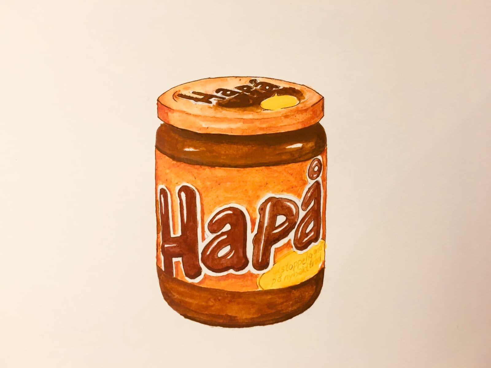 Torbjørns svigersønn, Christian Fjeldbu, er illustratør og malte et HaPå-glass i akvarell til jubilanten. Stjerne i boken!