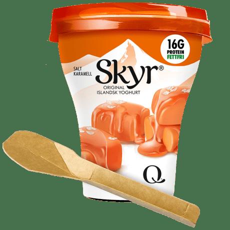 Vi tester ny skje i Skyr salt karamell. Hva synes du om den?