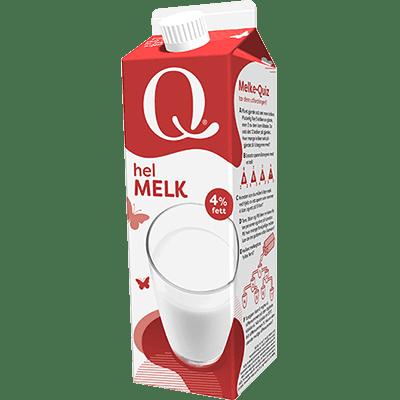 Q helmelk har en naturlig fettprosent.