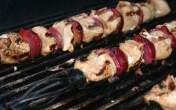 Chicken, Plum, and Red Onion Kebabs with Couscous
