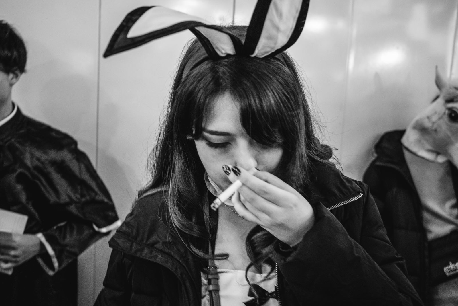 Having a smoke.