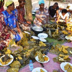 Uganda cooking with banana leaves