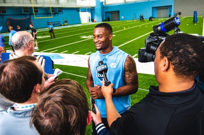 Malik Carney, William Sweet and Anthony Ratliff-Williams discuss Pro Day on Monday at UNC.