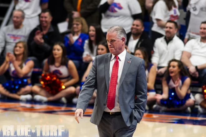 San Diego State head coach, Brian Dutcher looks on as his Aztec team beats the Broncos  72-55 just a few weeks ago in Boise.